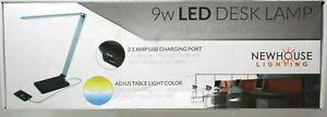 "Newhouse 9w LED Desk Lamp Built in USB Charging Port 16"" Adj Black SemiGloss SB2"