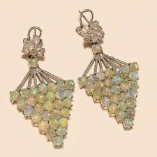 Natural Ethiopian Fire Opal Earrings 925 Sterling Silver Women Wedding Jewelry