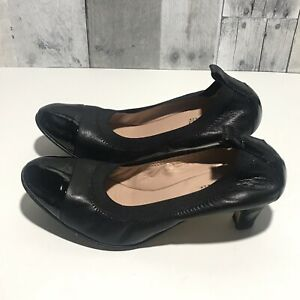 Anyi Lu Size 7, EU 37.5 women's Payge Black Leather Cap Toe Low Heels Pumps