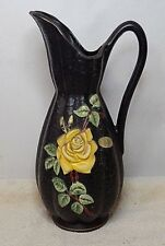VINTAGE BRENTLEIGH WARE PITCHER / HANDLE - BLACK / YELLOW ROSE - MADE IN ENGLAND