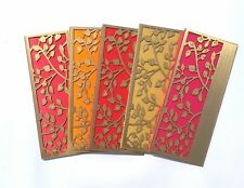 Parvenu Shagun India Wooden Leaf Gift Envelopes Designer Cover.Box of 20 Pieces.