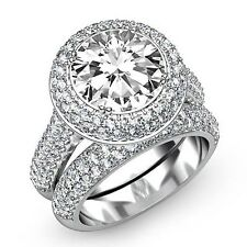 Round Diamond Engagement Bridal Halo Pave Set Ring GIA F SI1 14k White Gold 4ct