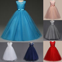 Child Kids Girl Party Pageant Wedding Bridesmaid Formal Gown Princess Maxi Dress