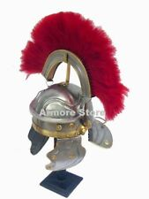 ROMAN CENTURION ARMOUR HELMET W/ RED CREST PLUME WARRIOR BESANCON GALLIC