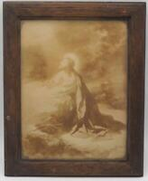 Antique Jesus Praying Sepia Lithograph Print Wood Frame