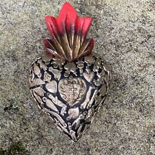 """HEARTS - Mexican Milagro Heart - Hand Crafted Wood Milagros Folk 6.75"""" - #1"""