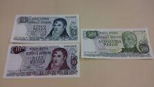 Argentina 5, 10 and 500 pesos 3 UNC paper money banknotes
