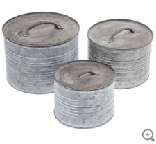Round Galvanized Metal Box Set Kitchen Canister With Lids (Set of 3)