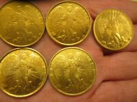 LOT OF 5 VINTAGE RELIGIOUS  GOLD ANGEL COIN  DOUBLE SIDED METAL VERY NICE
