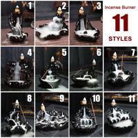 Buddhist Smoke Incense Burner Waterfall Backflow Ceramic Glaze Censer Holder A
