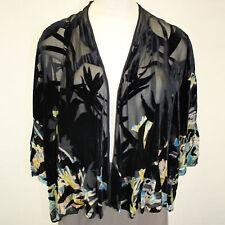 NEW NWT Citron Clothing Plus Size Lagenlook Velvet Burnout Cardigan Blouse 2X
