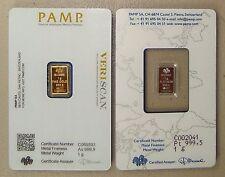 1 Gram Pamp Suisse Gold Bar & 1 Gram Pamp Suisse Platinum Bar