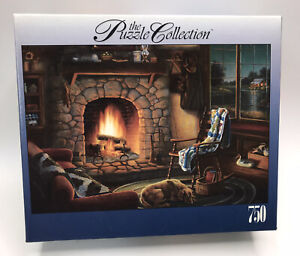 """The Puzzle Collection RoseArt """"Cozy Cabin"""" 750 Piece Puzzle Nice Fireplace Scene"""