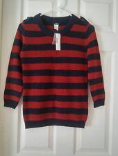 NWT J. Crew Navy Blue and Rust Orange Striped Merino Wool Sweater XS
