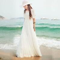 Summer New Womens Lace Dress Long Boho Beach Sundress Maxi Chiffon Dress Fashion