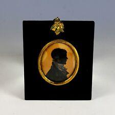 1800's Antique Framed Painted Silhouette Portrait Miniature Gentleman