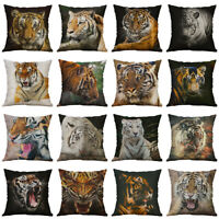 Tiger Print Cotton Linen Pillow Case Throw Sofa Car Cushion Cover Home Decor