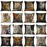 Tiger Print Cotton Linen Pillow Case Throw Sofa Car Cushion Cover Home Decor
