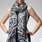 Women zebra animal print pashmina long scarf stole wrap Shawl Cape Stripe Print