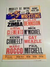 More details for vintage wrestling poster hull 1972 marc rocco honey boy zimba cat weazle