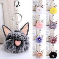Cute Fur Ball Key Chain Pompon Keyring Soft Cat Ears Bags Hanging Pendant Gifts