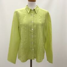 SO Be It Sigrid Olsen Top Shirt Large Womens Green 100% Linen Long Sleeve