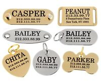 Dog ID Tag Personalized Custom Name Tags Engraving Nameplate Puppy Cat Brass