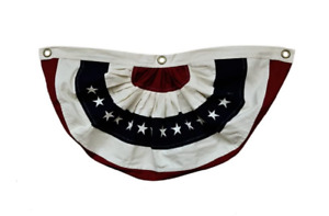 """Red, Natural, Blue & Stars Patriotic American Fabric Bunting - 30""""W x 16.5""""L"""