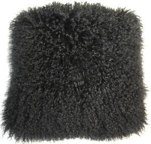 Fur Pillow Tibet Lamb Fur Double Sided Lambskin Sheep Living Deco Couch Black