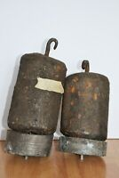 2x Antique Large Clock Weights Casting Iron Lead 6.7kg 5.3kg Round 22x8cm 18x8cm