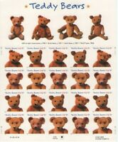 37 Cent Teddy Bear Postage Stamps Sheet of 20 - History of Teddy Bear - Mint
