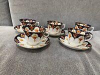 Vintage Antique Royal Albert Set of 5 Imari Style Pattern 4692 Cups & Saucers