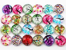 12mm Handmade Glass Cabochons | Pretty Tree Designs | Random Mixed Pack | 50pcs