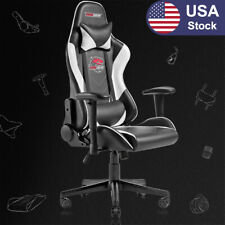 Racing Style Computer Gaming Chair Ergonomic Recliner Swivel Office Chairwhite