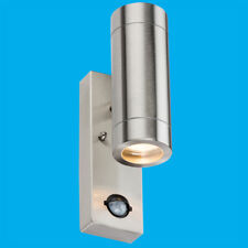 1x Stainless Steel IP44 Up & Down Outdoor PIR Motion Sensor Security Wall Light