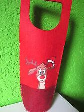 """Flaschen Tasche """"Rentier Didi"""" Rot Verpackung Elch Geschenk Hirsch Weihnachten"""