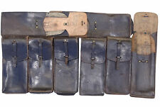 VINTAGE REAL LEATHER MAGAZINE BELT POUCH IN BLACK AMMO FRENCH ARMY GRADE 2
