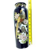 "Vintage Kutani Vase Vintage Gold Pheasant Cobal Blue GOLD Decorated Japan 10.2"""