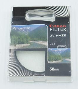 Genuine OEM Canon 58mm Filter UV Haze w/ Case