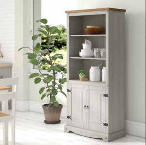 Tall Kitchen Pantry Rustic Grey Cupboard Storage Cabinet Unit Large Dresser Door