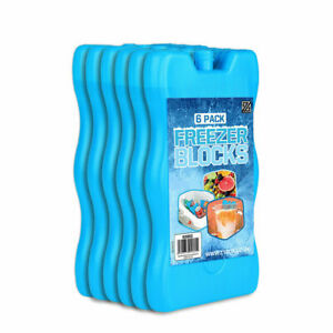 6x REUSEABLE FREEZER ICE BLOCKS Cool Pack Cooler Bag For Picnic Travel Lunch Box