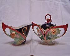 Franz Porcelain Flora and Flutter Sugar n Creamer Set New MIB Ol Store Stock