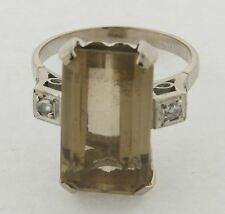 Art Deco Platinum Diamond Accents Fancy Cut Topaz Ring