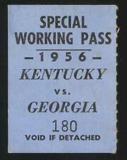 1956 UGA vs KENTUCKY FOOTBALL Special Working Pass Wildcats vs BULLDOGS  RARE!