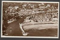 Postcard Looe near Polperro Cornwall detailed aerial view RP