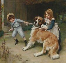 "Arthur Elsley, Saint Bernard, Dog, antique decor, Victorian, 12""x12"" CANVAS ART"