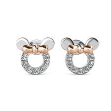 Swarovski Crystal Mouse Ears Earring Studs with Rose Gold Bow