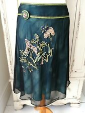 TED BAKER Skirt Silk Size 2 UK 10 Green Embroidered Party Evening