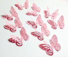 12 x Pink 3D Butterflies Baby Shower Wedding Christening Birthday confetti craft