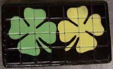 Tiled Belt Buckle Double 4 Leaf Clovers NEW